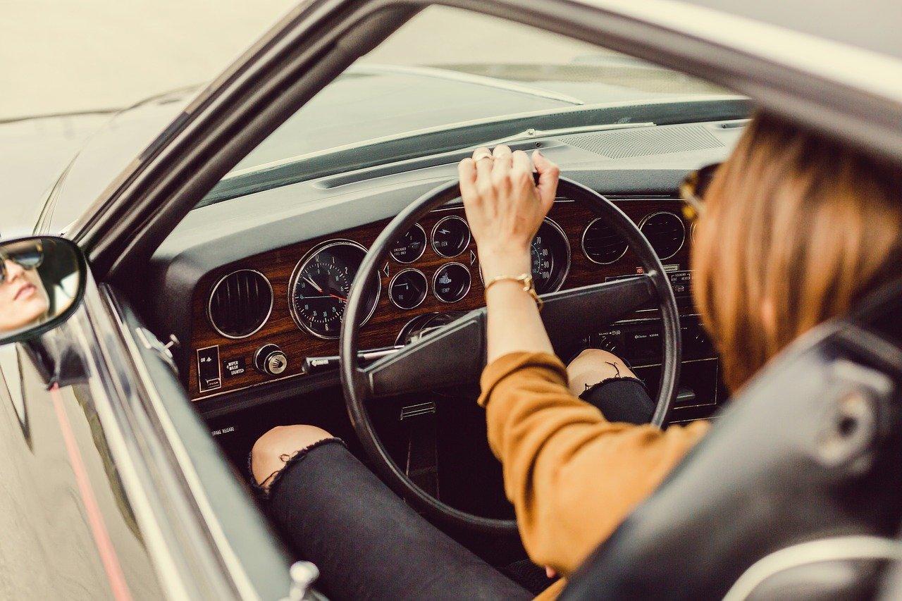 car, girl, driving